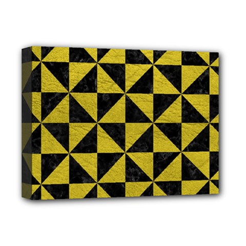 Triangle1 Black Marble & Yellow Leather Deluxe Canvas 16  X 12