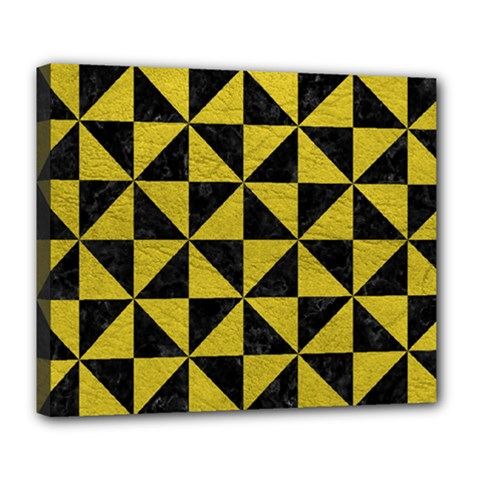 Triangle1 Black Marble & Yellow Leather Deluxe Canvas 24  X 20