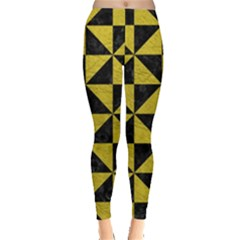 Triangle1 Black Marble & Yellow Leather Leggings