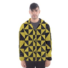 Triangle1 Black Marble & Yellow Leather Hooded Wind Breaker (men)
