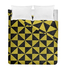 Triangle1 Black Marble & Yellow Leather Duvet Cover Double Side (full/ Double Size)