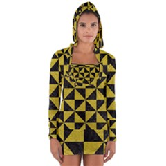 Triangle1 Black Marble & Yellow Leather Long Sleeve Hooded T Shirt