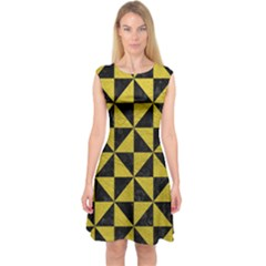 Triangle1 Black Marble & Yellow Leather Capsleeve Midi Dress