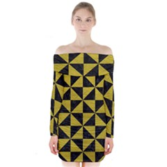 Triangle1 Black Marble & Yellow Leather Long Sleeve Off Shoulder Dress