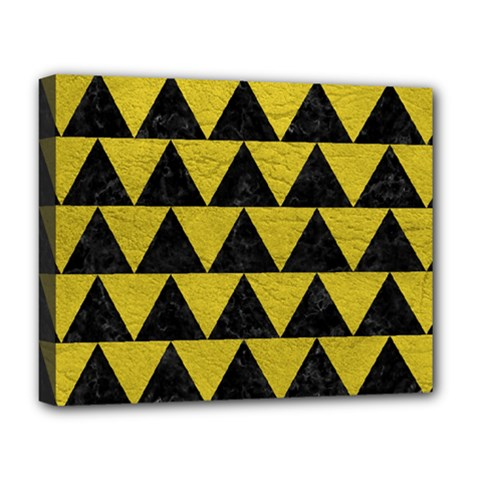 Triangle2 Black Marble & Yellow Leather Deluxe Canvas 20  X 16