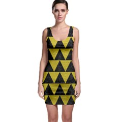 Triangle2 Black Marble & Yellow Leather Bodycon Dress