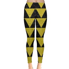 Triangle2 Black Marble & Yellow Leather Leggings