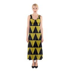 Triangle2 Black Marble & Yellow Leather Sleeveless Maxi Dress