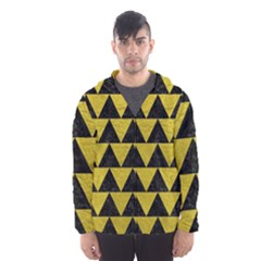 Triangle2 Black Marble & Yellow Leather Hooded Wind Breaker (men)