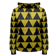 Triangle2 Black Marble & Yellow Leather Women s Pullover Hoodie