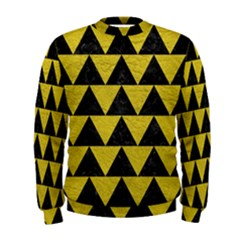 Triangle2 Black Marble & Yellow Leather Men s Sweatshirt