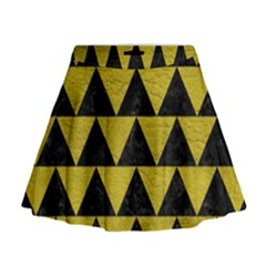 Triangle2 Black Marble & Yellow Leather Mini Flare Skirt
