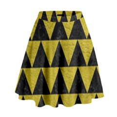 Triangle2 Black Marble & Yellow Leather High Waist Skirt