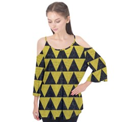 Triangle2 Black Marble & Yellow Leather Flutter Tees