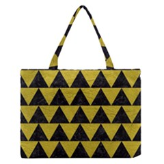 Triangle2 Black Marble & Yellow Leather Zipper Medium Tote Bag