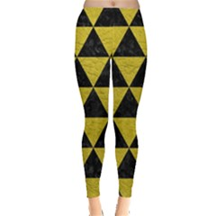 Triangle3 Black Marble & Yellow Leather Leggings