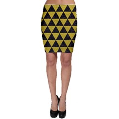 Triangle3 Black Marble & Yellow Leather Bodycon Skirt