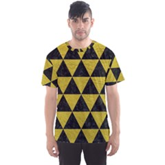 Triangle3 Black Marble & Yellow Leather Men s Sports Mesh Tee