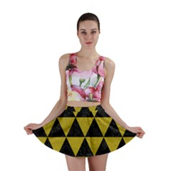 Triangle3 Black Marble & Yellow Leather Mini Skirt