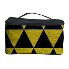 Triangle3 Black Marble & Yellow Leather Cosmetic Storage Case