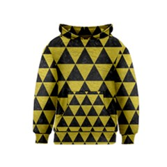Triangle3 Black Marble & Yellow Leather Kids  Pullover Hoodie
