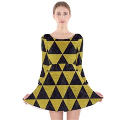 Triangle3 Black Marble & Yellow Leather Long Sleeve Velvet Skater Dress