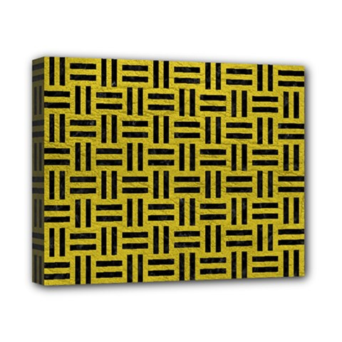 Woven1 Black Marble & Yellow Leather Canvas 10  X 8