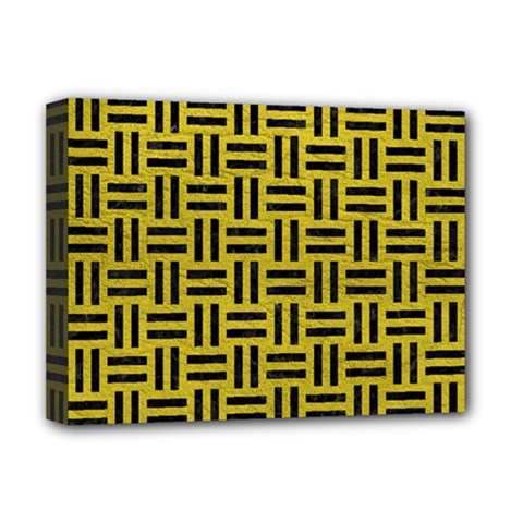 Woven1 Black Marble & Yellow Leather Deluxe Canvas 16  X 12