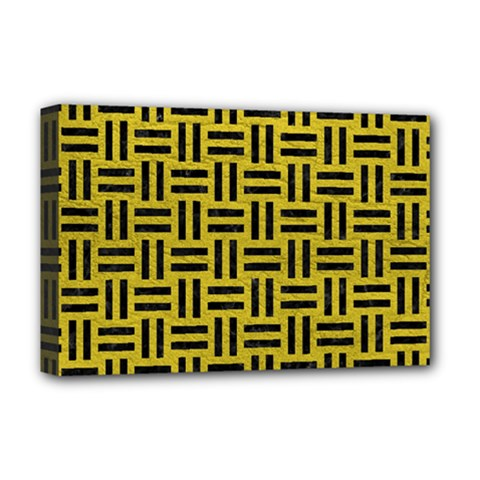 Woven1 Black Marble & Yellow Leather Deluxe Canvas 18  X 12