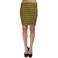 Woven1 Black Marble & Yellow Leather Bodycon Skirt