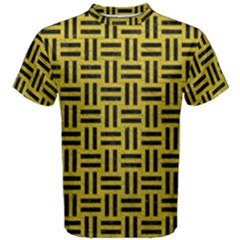Woven1 Black Marble & Yellow Leather Men s Cotton Tee