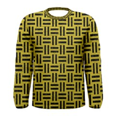 Woven1 Black Marble & Yellow Leather Men s Long Sleeve Tee