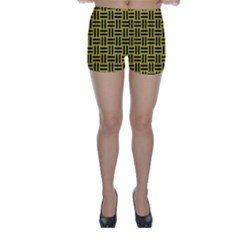 Woven1 Black Marble & Yellow Leather Skinny Shorts