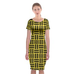 Woven1 Black Marble & Yellow Leather Classic Short Sleeve Midi Dress