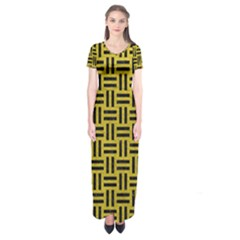 Woven1 Black Marble & Yellow Leather Short Sleeve Maxi Dress