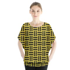 Woven1 Black Marble & Yellow Leather Blouse