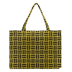 Woven1 Black Marble & Yellow Leather Medium Tote Bag