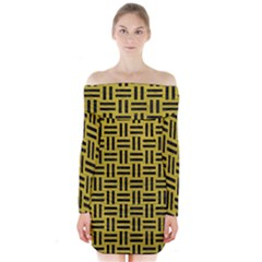 Woven1 Black Marble & Yellow Leather Long Sleeve Off Shoulder Dress