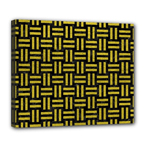 Woven1 Black Marble & Yellow Leather (r) Deluxe Canvas 24  X 20