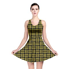 Woven1 Black Marble & Yellow Leather (r) Reversible Skater Dress