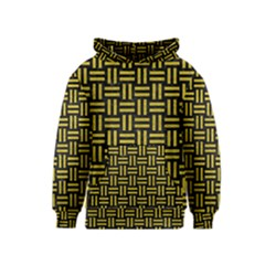 Woven1 Black Marble & Yellow Leather (r) Kids  Pullover Hoodie