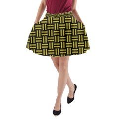 Woven1 Black Marble & Yellow Leather (r) A Line Pocket Skirt