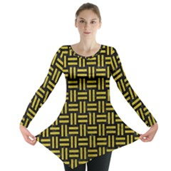 Woven1 Black Marble & Yellow Leather (r) Long Sleeve Tunic