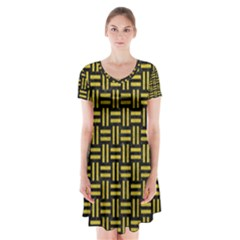 Woven1 Black Marble & Yellow Leather (r) Short Sleeve V Neck Flare Dress