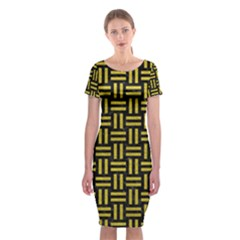 Woven1 Black Marble & Yellow Leather (r) Classic Short Sleeve Midi Dress