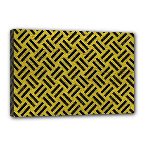 Woven2 Black Marble & Yellow Leather Canvas 18  X 12