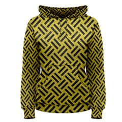 Woven2 Black Marble & Yellow Leather Women s Pullover Hoodie