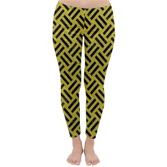 Woven2 Black Marble & Yellow Leather Classic Winter Leggings