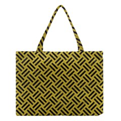 Woven2 Black Marble & Yellow Leather Medium Tote Bag