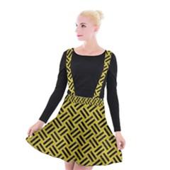 Woven2 Black Marble & Yellow Leather Suspender Skater Skirt